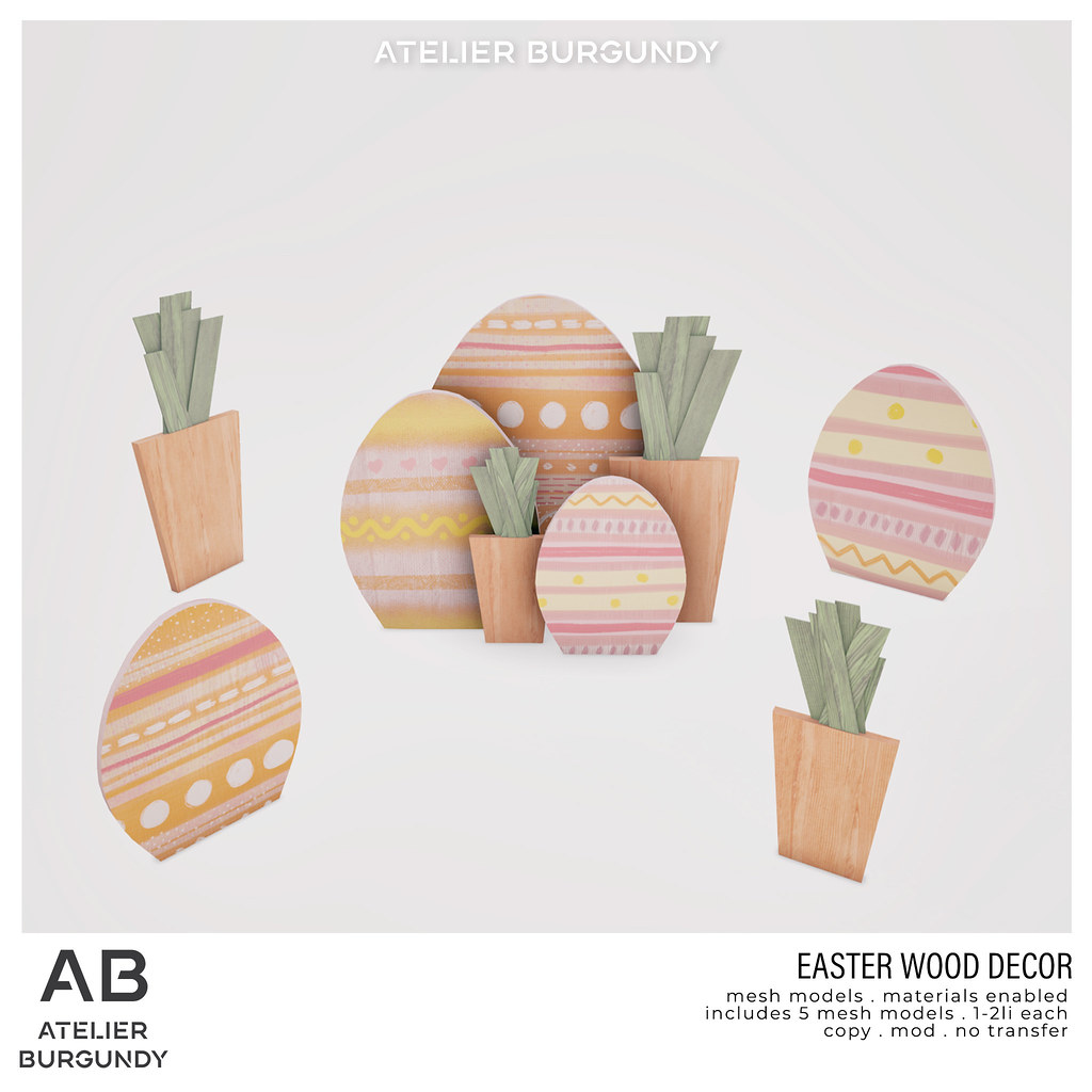 Atelier Burgundy . Easter Wood Decor