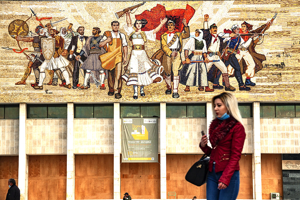 Communist era mosaic on National Museum of History on 3-9-21--Tirana