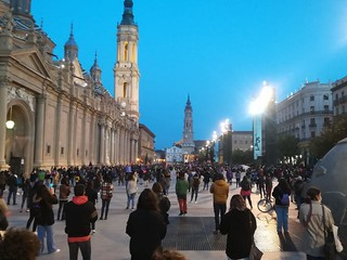 Manifestación 8M 2021 en la plaza del Pilar