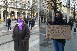 Paloma y Lucía durante el 8M de 2021 en Zaragoza