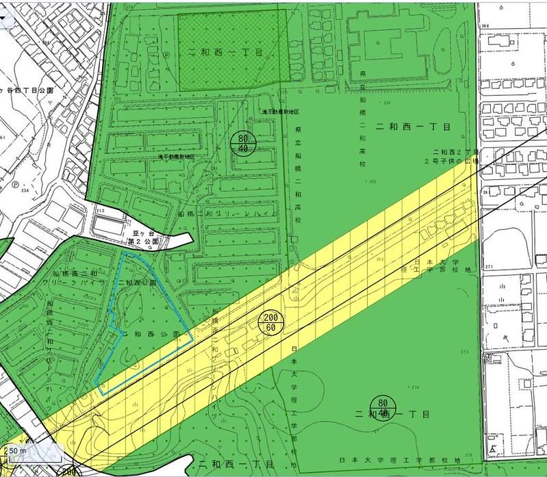 船橋二和高校南側の空間は成田新幹線買収済用地なのか検証する (1)