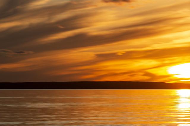 Sunset with camera movement, Waskesiu Lake, Prince Albert National Park, Sask
