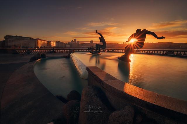 Surfers in A Coruña