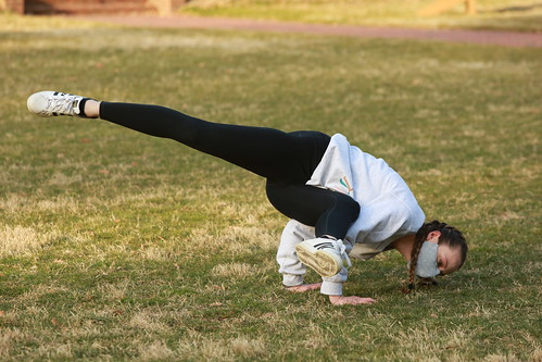 The Sunken Garden is the perfect place to practice yoga during Spring Break days.