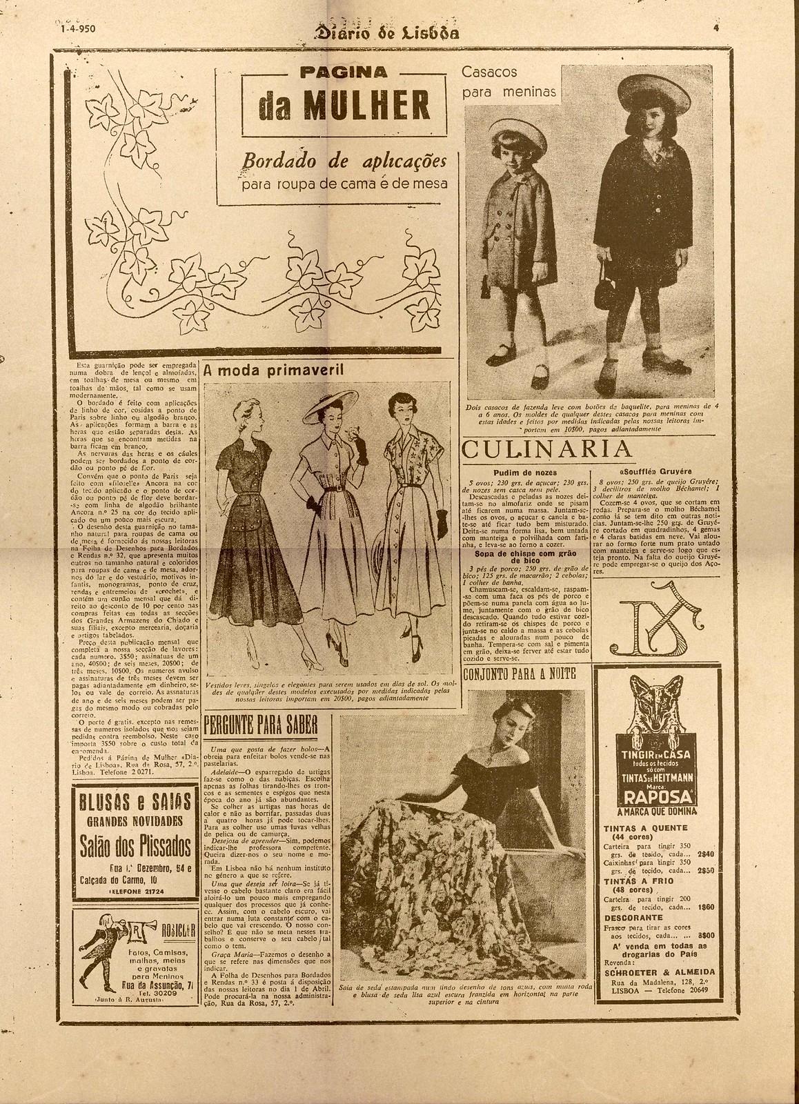 «Página da Mulher», in Diario de Lisbôa, 1/IV/950, p. 4.