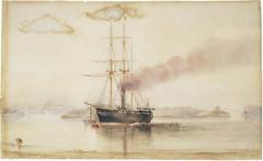 Ship at anchor in Port Jackson, Sydney, c. 1870