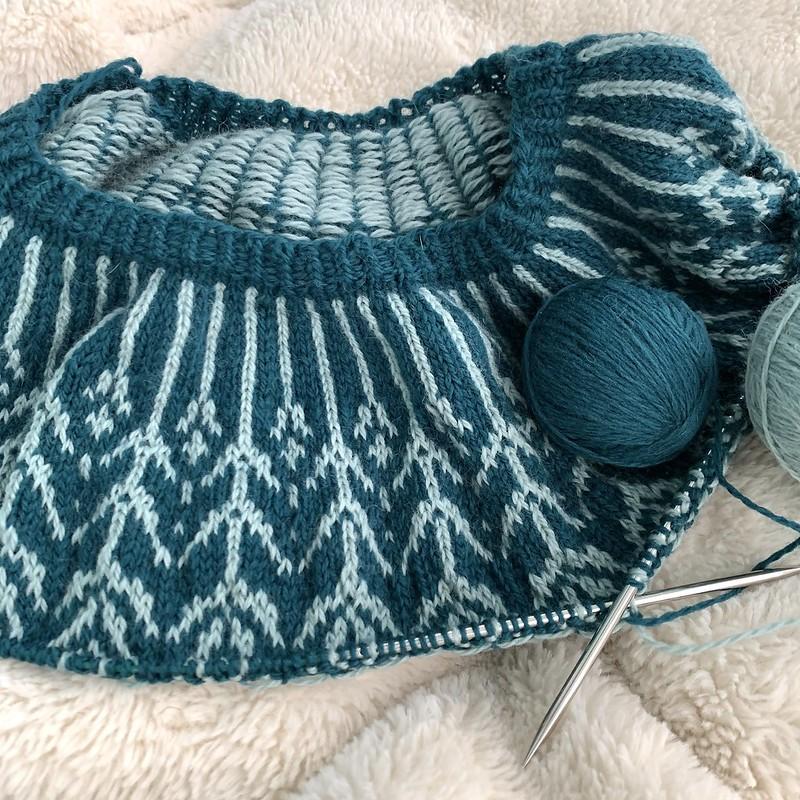 Colorwork neckline and yoke of a Sonrae sweater in progress