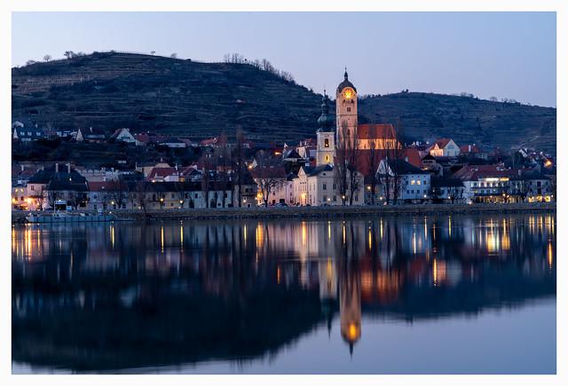 Blue hour over river Danube. Krems-Stein.