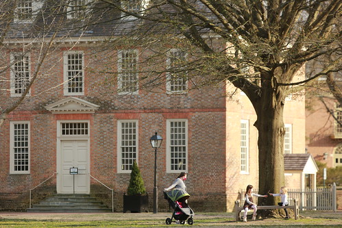 Visitors to campus relish the sunshine and warmth of an early March day.