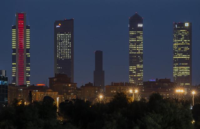 Cinco Torres at dusk, Madrid, Spain