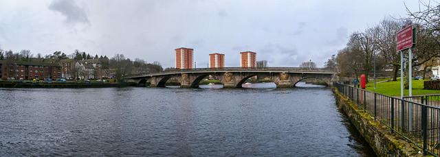 Dumbarton Bridge and the River Leven at High Tide
