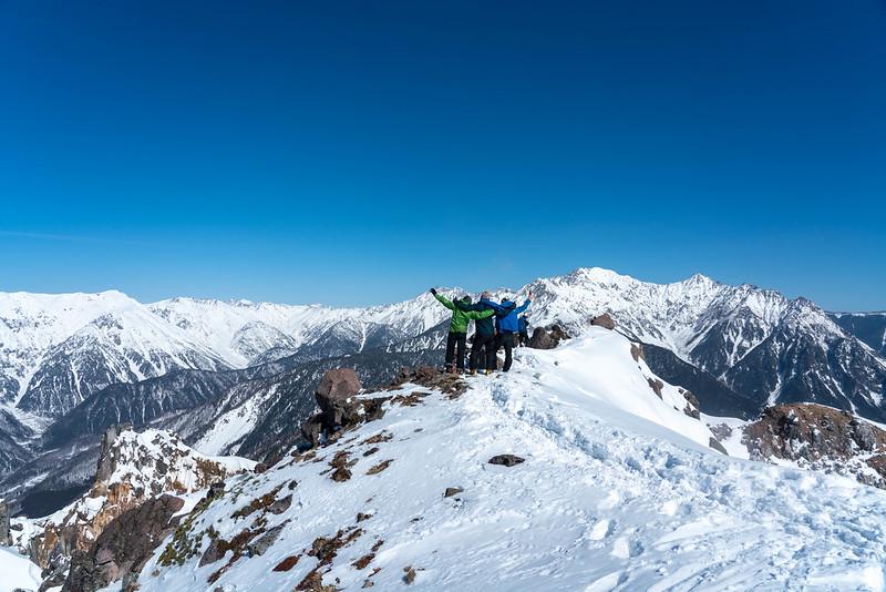 冬の焼岳の集合写真