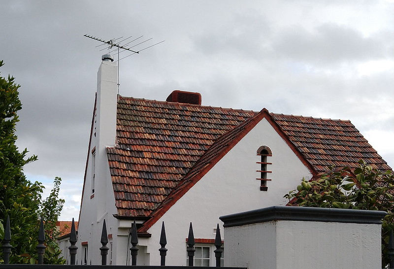 Air conditioner and TV antenna on roof, Bentleigh