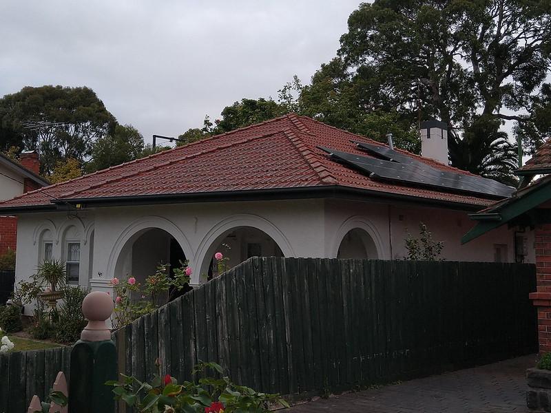 Solar panels on roof, Elsternwick