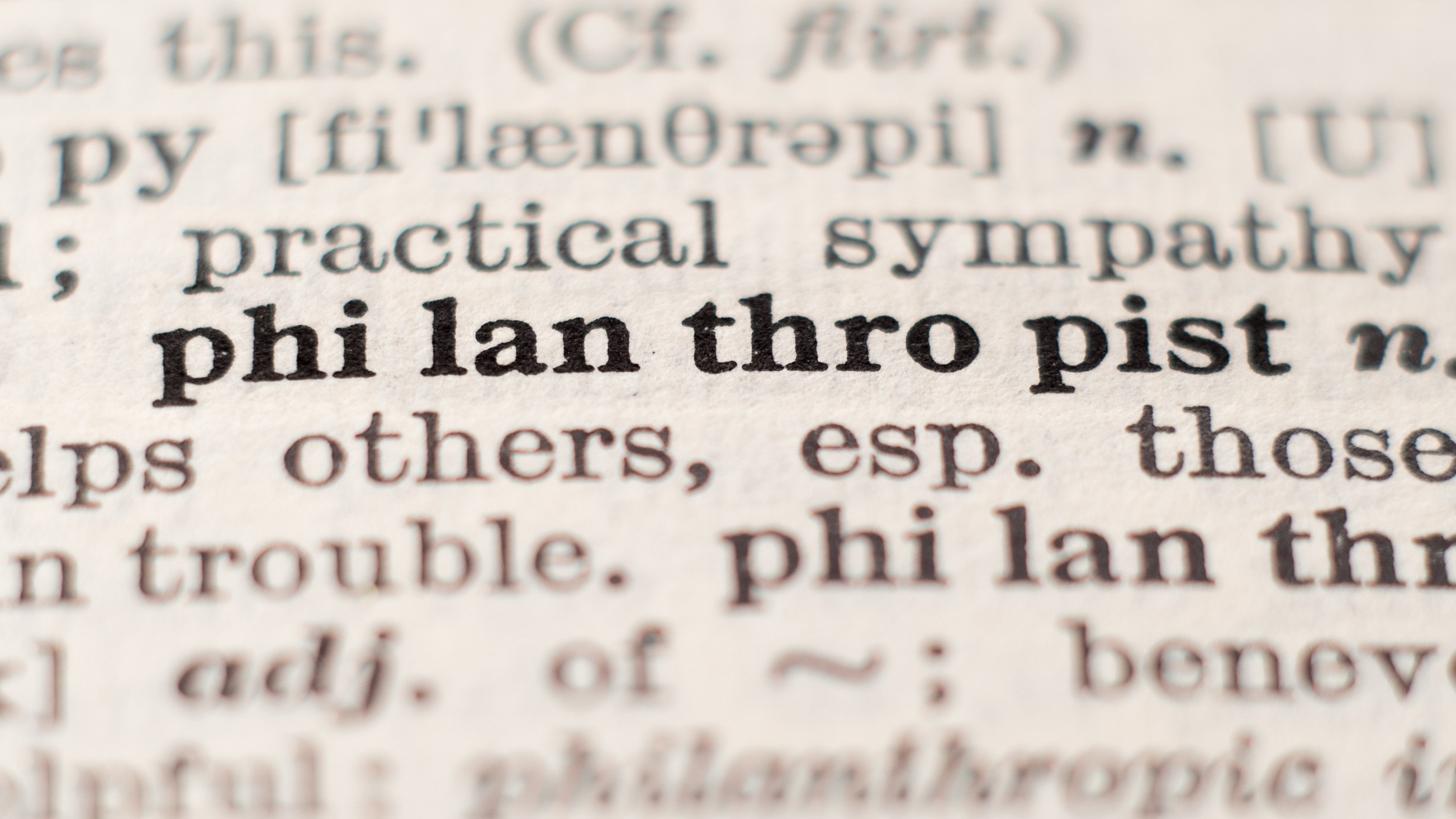 Dictionary definition showing the word philanthropist