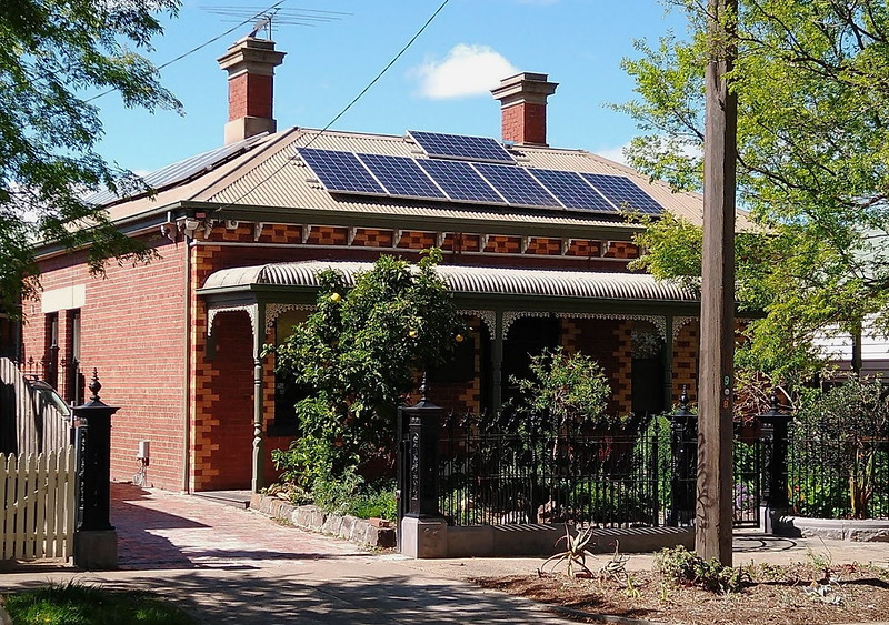 Solar panels on roof, Footscray