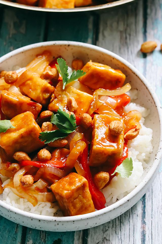 Sticky Sweet Thai Chili Tofu Stir Fry