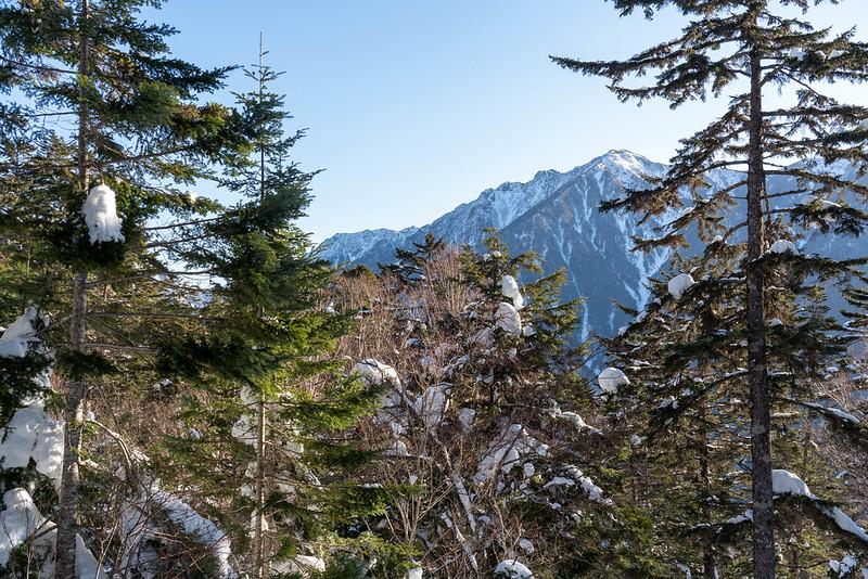 霞沢岳が見える
