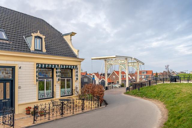 Village view with drawbridge, Strijensas, Hoeksche Waard, Netherlands