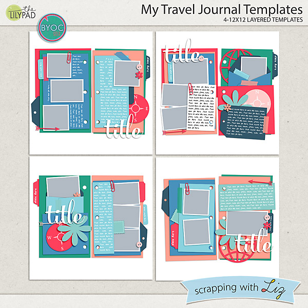 travel layout templates for digital scrapbooking