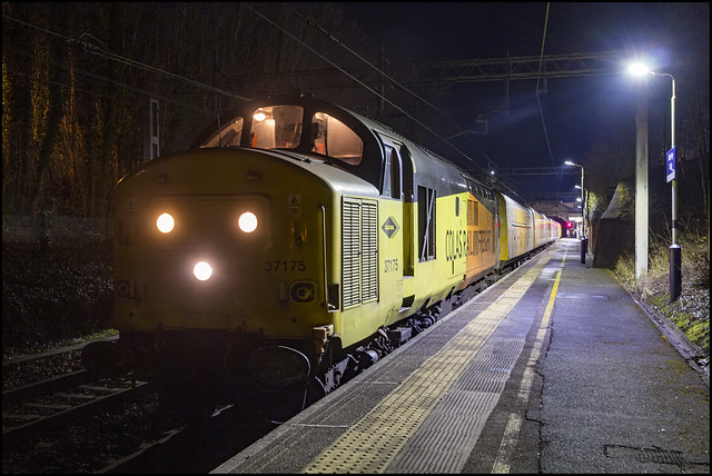 37175 on 3Q18 20:58 Derby RTC - York Holgate Works sat awaiting time at Alderley Edge before Thrashing off to Manchester Airport 09/03/2021