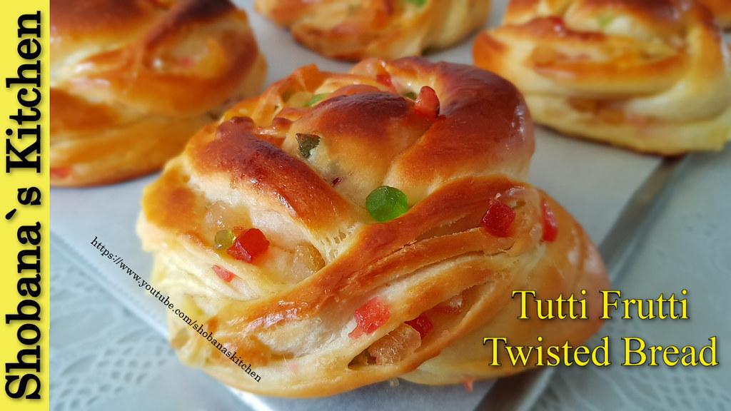 Tutti Frutti Twisted Bread Rolls | Sweet Bun Recipe
