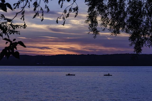 kayaking on Lake Leelanau at sunset