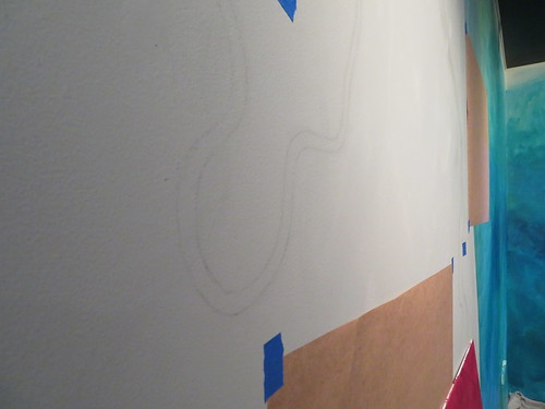 River pencilled on wall