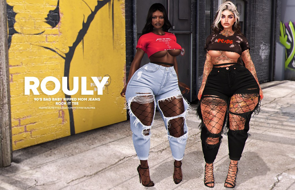 Rouly – 90's Bad Baby Ripped Mom Jeans & Rock It Tee @ equal10