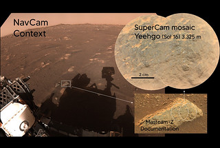 Photos of 'Yeehgo,' the second rock target analyzed with SuperCam's various imaging capabilities.