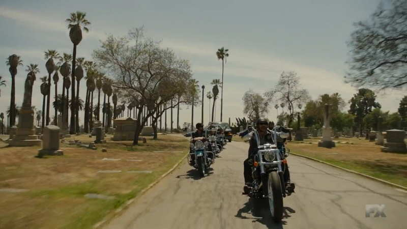 Palm trees Cemetery sequence motorbike