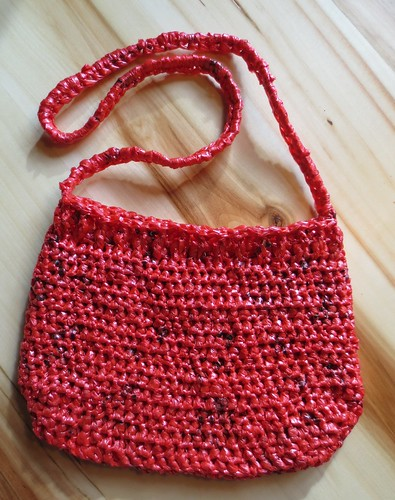 Pink Plarn Cabled Purse