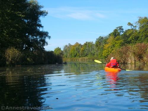 Kayaking up Black Creek above North Main Street, Churchville, New York