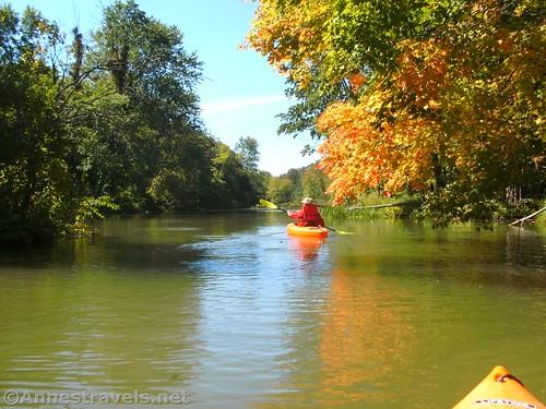 Kayaking up Black Creek under the changing color leaves, Churchville, New York