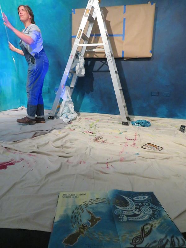 Wall painting underway