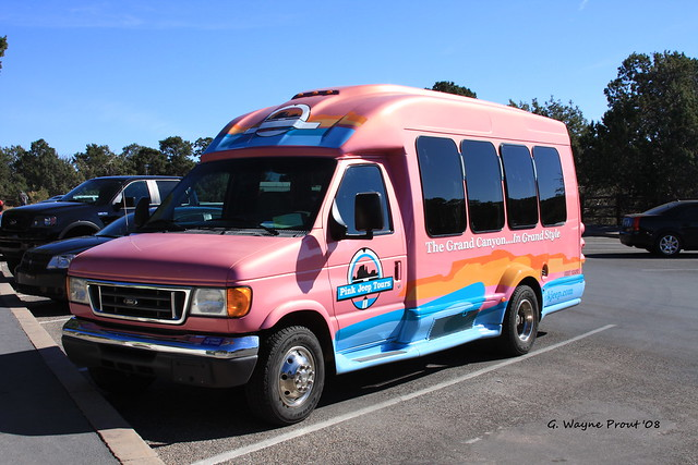 2003 Ford E350 Super Duty Shuttle Bus operator  Pink Jeep Tours