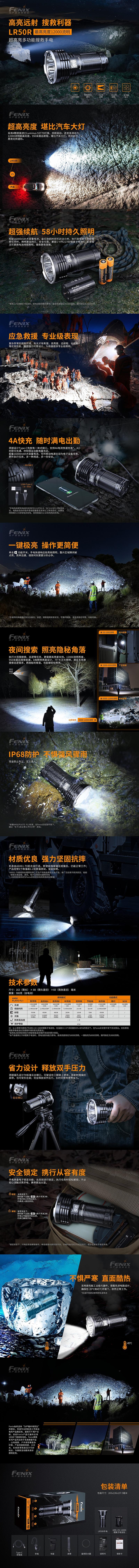 手電筒專賣 專業代理銷售 戶外裝備【錸特光電】FENIX LR50R 超高亮多功能搜索手電筒 12000流明 950米射程 一鍵極亮 爆閃 USB-C充電 (1)