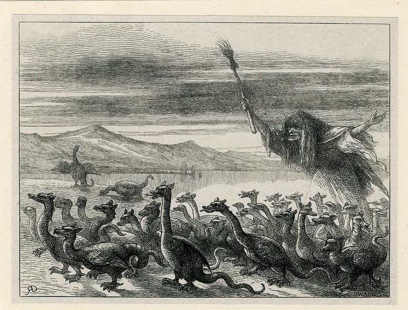 After Richard Doyle - Witch Guiding Dragons, late 19th C