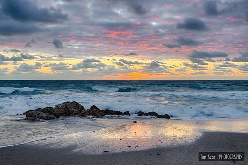shoreline sand sunrise cloudy reflection waves hdr summer beach ocean deerfieldbeach rocky landscape water rocks florida clouds