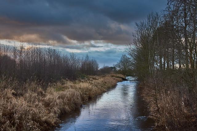 dark clouds in the evening light