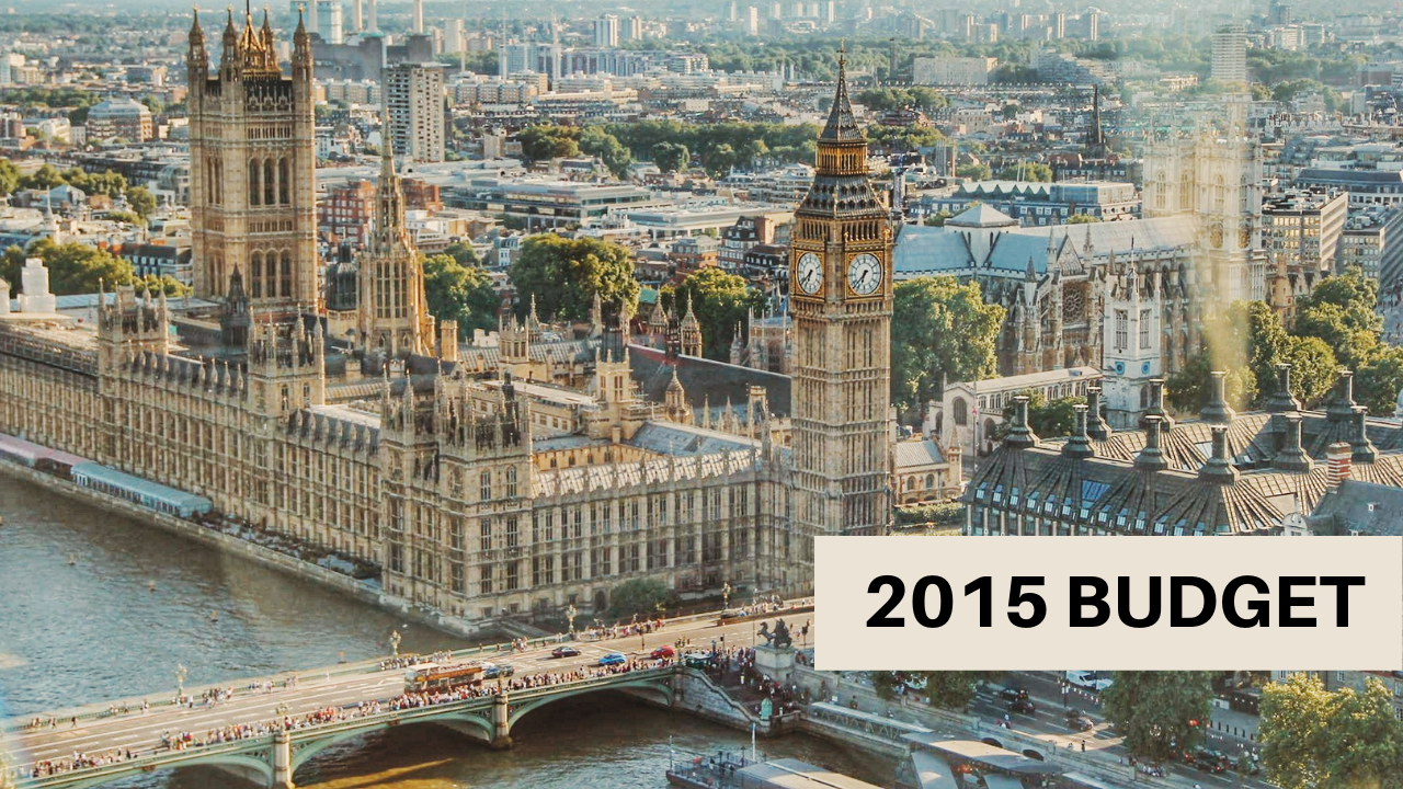 Houses of parliament with text overlay '2015 Budget'