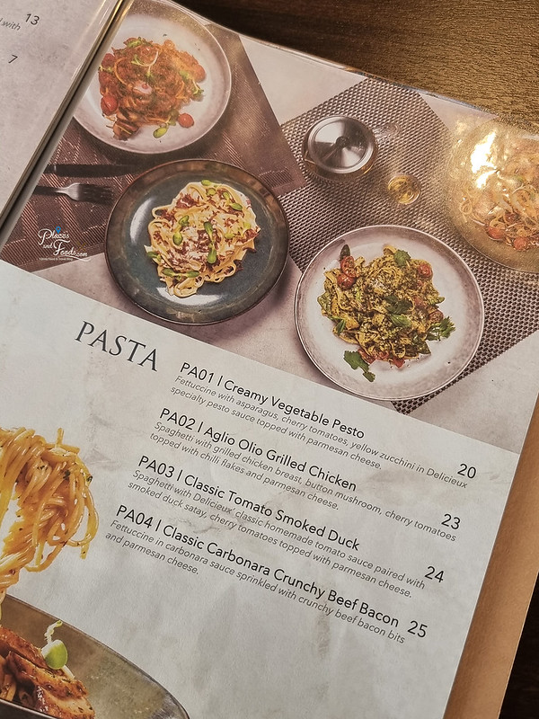 delicieux cafe menu pasta