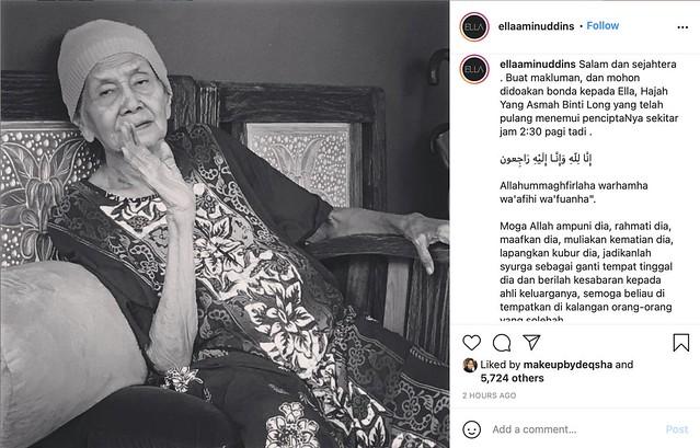 Kehilangan Insan Tercinta, Salam Takziah, Ibu Ella Aminuddin Meninggal Dunia