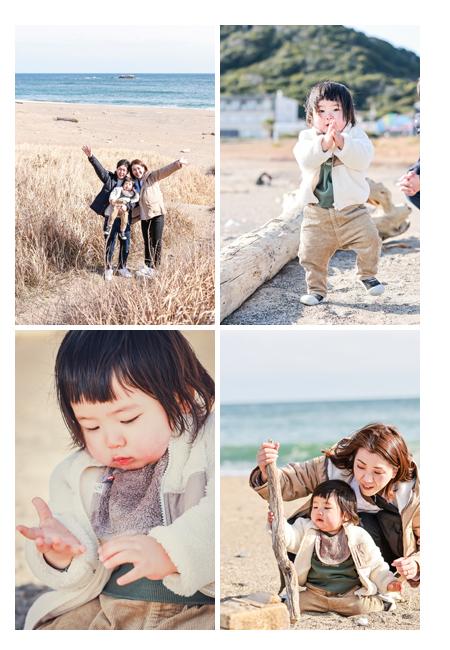 伊良湖岬 2月の海 家族写真のロケーション撮影
