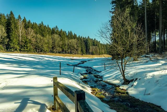 Im oberen Erzgebirge liegt noch Schnee