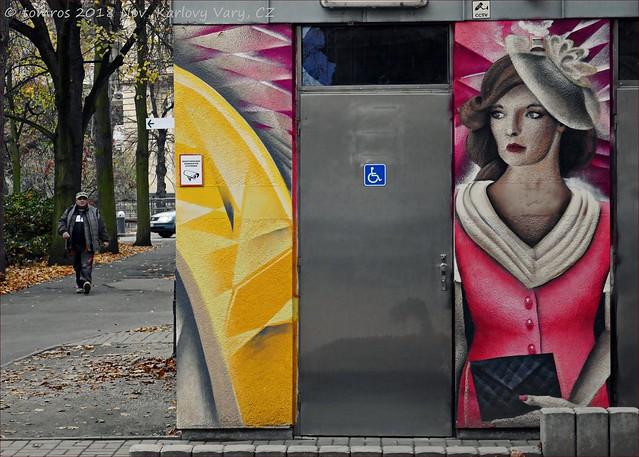 Public washrooms  dilemma, Karlsbad. Czech Republic.