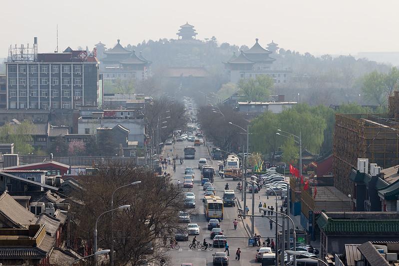 Пекин, Панорама парка Цзиншань и улицы Дианьмэнь вай дацзе
