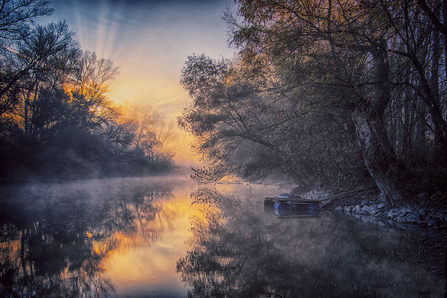 Foggy dawn ... Hungary - Dunasziget