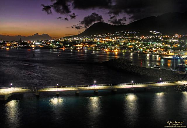 The City of Basseterre Saint Kitts at Twilight