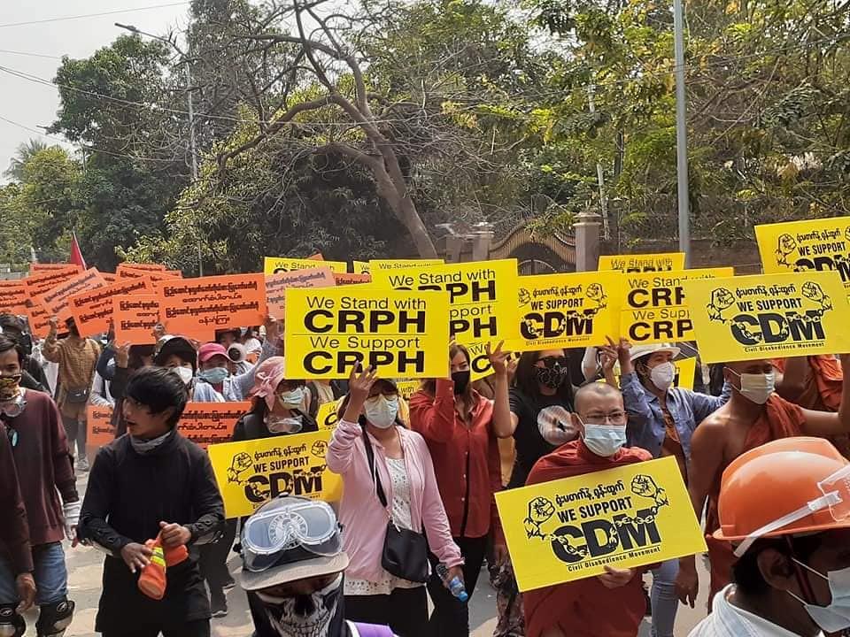การประท้วงเมื่อวันที่ 11 มี.ค. 2564 ที่เมืองมัณฑะเลย์ (ภาพโดย Khit Thit Media)